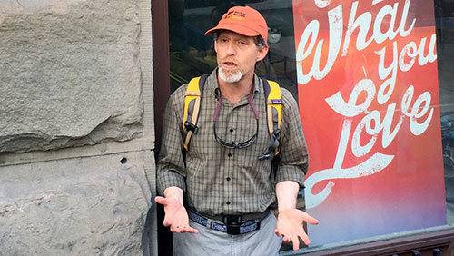 """Second 'Stories in Stone' walking tour with David Williams  The July """"Stories in Stone"""" walking tour with geology writer David Williams was a big hit. David provided a second tour on Aug. 6 for those who missed out."""