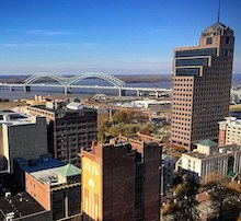 skyline photo of Memphis and Mississippi River