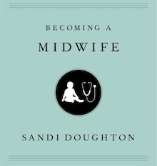 """photo of """"Becoming a Midwife"""" book cover showing an silhouette of a health care provider with stethoscope"""