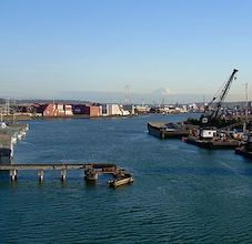 photo of the duwamish river running through an industrial zone