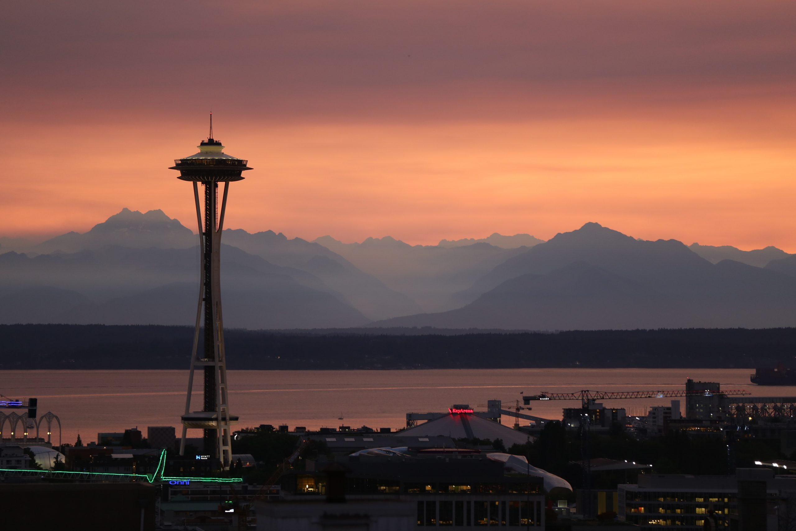 Sunset over the Olympic Mountains, Elliot Bay, and Space Needle