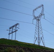 high-voltage transmission towers and power lines